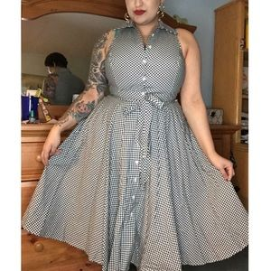 Dresses & Skirts - black & white gingham pinup button shirt dress